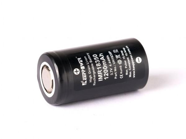 Keeppower IMR18350 - 1200mAh 10A (15A), 3,6V - 3,7V Li-Ionen-Akku