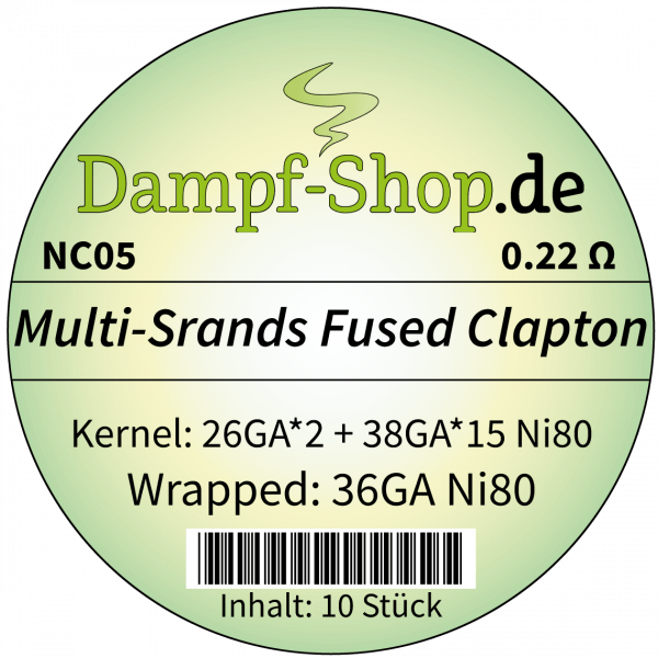 NC05 - 10x Ni80 Multi-Srands Fused Clapton - [(0.40 mm *2 + 0.10 mm*15) + 0.12 mm) - 0.22 Ohm